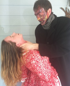 Frankenstein's monster murdering his wife.