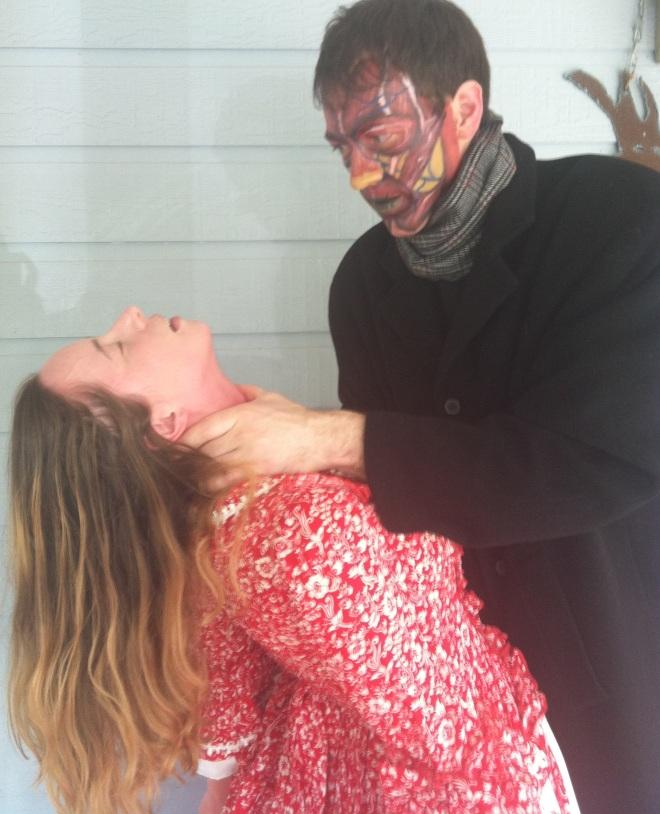 Frankenstein's monster murdering his wife.